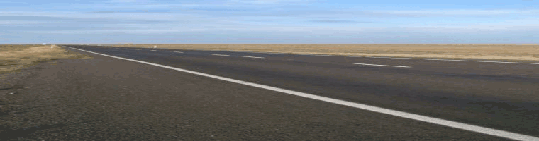 Site banner :: image of  long, straight, flat road, Hay Australia