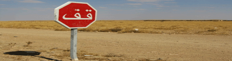 Site banner :: image of Stop sign on a desert road
