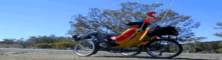 Site banner :: image of Grant Walter on Greenspeed GTO trike, Wilpena Pound Australia
