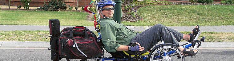 Site banner :: image of Grant Walter on Greenspeed GT3 trike, Adelaide Australia