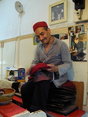 Making a chechia - Tunis, Tunisia